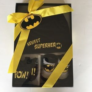 "Batman ""Newest Superhero"" Newborn Gift Hat, Socks"
